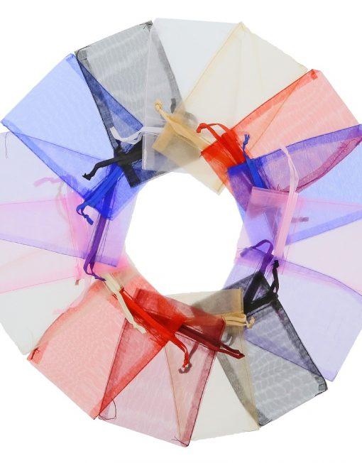 200 Stück Kleine Organzasäckchen 7x12cm verschiedenen Farben (2)