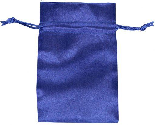 satin drawstring bag 10x15cm blue 3.0