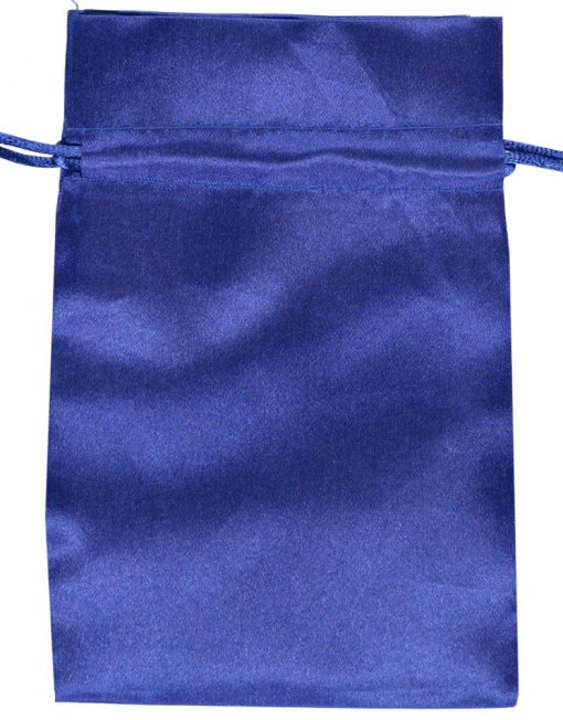 satin drawstring bag 10x15cm blue 3.0