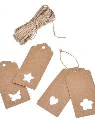 100 Stück Etiketten mit 20m Seil 9,5x4,5cm Herz, Stern, Schmetterling und Blume (je 25 Stück)