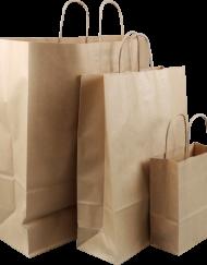 100 Stück Papiertragetaschen, Braun, Gedrehter Kordel, Verschiedene Größen