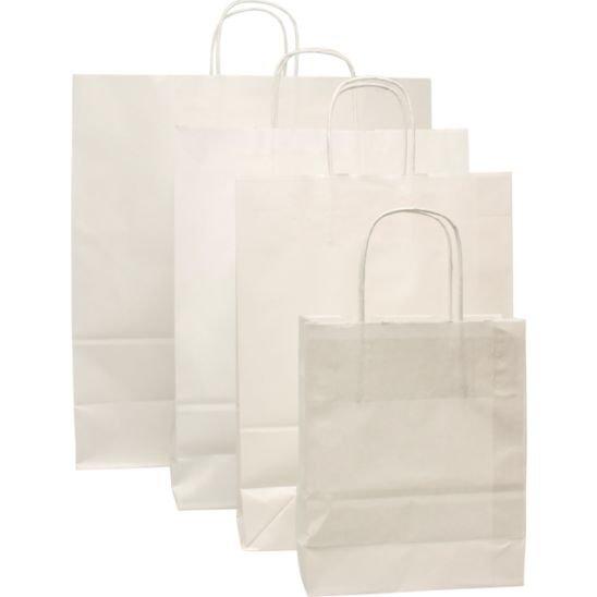 100 Stück Papiertragetaschen, weiss Gedrehter Kordel, (2)