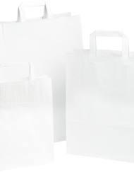 250 Stück Papiertragetasche, Weiss Flachgriff (2)