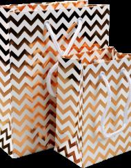50 Stück Tragetasche Chevron, Papier mit Kordel, 11x7x15.5cm oder 18x8x22cm