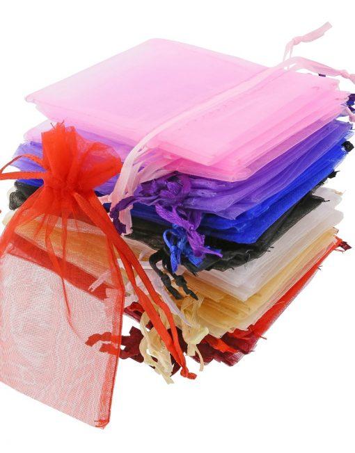 200 Stück Kleine Organzasäckchen 7x12cm verschiedenen Farben
