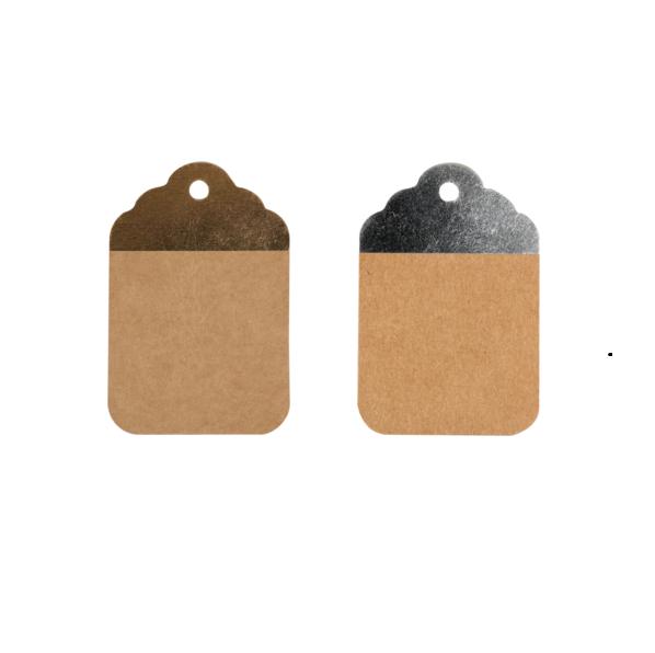 50 Stück Kraft-Etiketten BraunSilber oder BraunGold 8,5x5,5cm