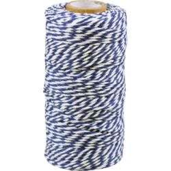 Baumwoll Schnur Blau weiss 1,5mm x 100mtr