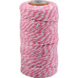 Baumwoll Schnur pink-weiss 1,5mm x 100mtr