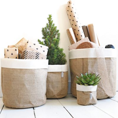 Jute bags with linen edge complete set