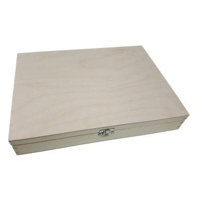 FSC Spruce Plain Holzboxen mit Klappdeckel A4, A5, A6 Natural Unlarnished
