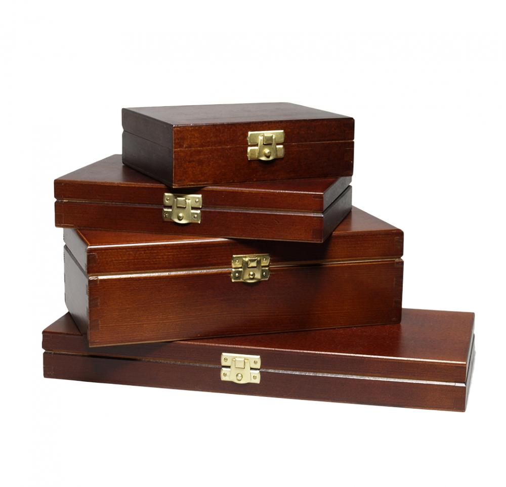 FSC Holzkisten mit Deckel A4, A5, A6 außen schwarz oder braun lackiert